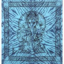 Blue Ganesh throw Fair Trade Elephant God Double Bed spread cover sofa drape NEW