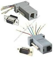 Lot10 DB9pin Male~RJ12//RJ11 Jack Modular Adapter 6P6C 6wire Aux//Phone//Telephone