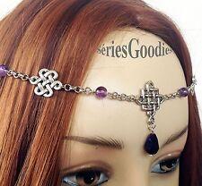 Diadème Tiare Collier Celtique Médiéval Mariage entrelacs et perles améthyste