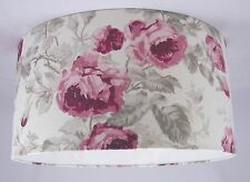 "19"" Lampshade Handmade in UK - Laura Ashley Roses Floral Fabric Cassis"