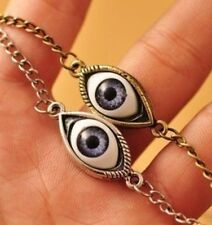 SCARY EVIL BLUE EYE QUIRKY KITSCH EMO STEAMPUNK HORROR NECKLACE + giftbag silver