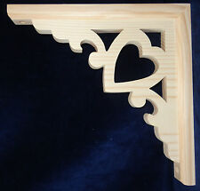 L&G's Victorian Gingerbread Fretwork Heart Wooden Corner Trim Bracket 12""