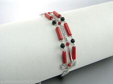3 row Solid 925 Sterling Silver Genuine Coral / Onyx / Pave` Rhinestone Bracelet