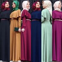 Arab Abaya Islamic Muslim Womens Long Sleeve Maxi Dress Party Evening Jilbab
