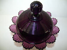 Amethyst purple glass klondyke pattern Covered Candy dish butter fluted scrolls