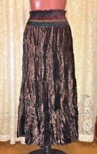 POETRY CLOTHING Soft Brown Velour Tiered Full Skirt Boho Gypsy sz M