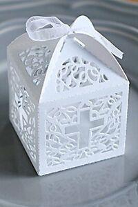 Wedding Christening Luxury Laser Cut Favour Boxes & Ribbons  x 50 ~ UK Seller