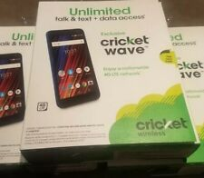 "LOT OF 3 Cricket Wave 4G LTE 5"" HD Screen 16GB Prepaid Smartphone Blue NEW"
