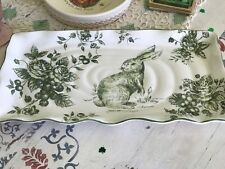 Maxcera Green & White Toile Country French Rectangle Serving Tray Rabbit Easter
