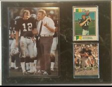 KEN STABLER OAKLAND RAIDERS SUPER BOWL CHAMPION ROOKIE & AUTOGRAPHED CARD PLAQUE