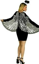 Dark Evil Angel Wings Halo Accessories Silver Black Halloween Set Costume Kit