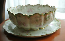 Antique Haviland & Co Limoges France Bowl with Underplate Gold with Roses WOW