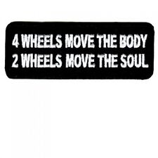 FOUR WHEELS MOVE THE BODY Funny Motorcycle MC Club NEW Biker Vest Patch