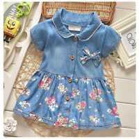 Abito bambina neonata 6-36 mesi jeans moda denim autunno dress girl vari colori