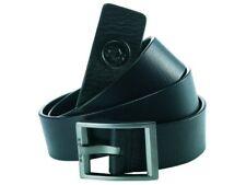 Police POMAA8-0411AM Zen Black Leather Antique Silver Buckle Belt - Size M