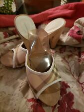 Burberry Chunky Leather Wood Heels Size 39 Pink Tan Check Studded Rare Sz 8 Cute
