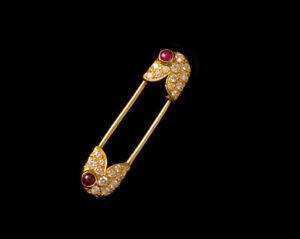 0.85ct Natürlich Rund Diamant 14K Massiv Gelbgold Rubin Brosche