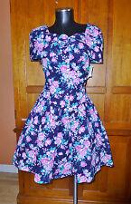 NEW Vtg 80s Floral Print Cotton Boho Garden Wedding Tea Party full Skirt DRESS