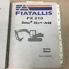 Fiat Allis Fx210 Excavator Service Shop Repair Manual Troubleshooting Guide Book