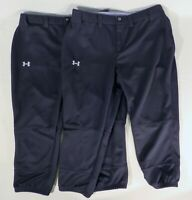 "2 Pair UNDER ARMOUR Womens Medium (30"" x 21.5"") Softball Baseball Capri Pants"