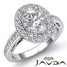Oval Diamond Classic Engagement Halo Pre-Set Ring GIA G VS1 18k White Gold 2.8ct