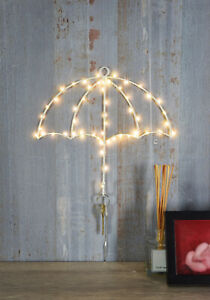 Hanging LED Silhouette Wall Light with Key Holder - White Umbrella Decoration