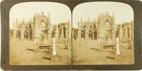 UK Scozia Abbaye Da Melrose Ruines, Foto Stereo Vintage Analogica PL62L6