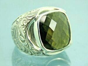 Turkish Handmade Jewelry 925 Sterling Silver Peridot Stone Men Ring Sz 9