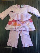 Keedo (Like Naartjie) Girls Purple Cotton Floral Outfit Pant Set 3-6 Months