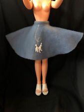 """Vintage Miss REVLON 20"""" Doll POODLE Circle SKIRT Blue Felt Embroidered Dog"""