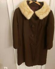 VTG 1950s Women Brown Original Wool Buttons Pockets Blend Coat Mink Fur Collar M