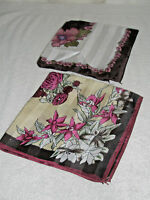 Lot 2 Ladies Scarves Burgundy Green White Flowers Striped