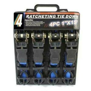 """4pc Heavy Duty Ratchet Tie Down Strap 1"""" 25mm Wide 4.6m Long Cargo Blue CHN"""