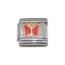 Red Sparkly Butterfly enamel Italian Charm - fits 9mm classic bracelets