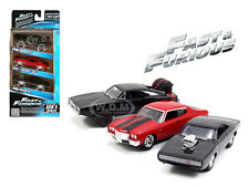 """""""FAST AND FURIOUS"""" DOM'S RIDES 3 PACK SET CHARGER CHEVELLE 1/55 BY JADA 97426"""