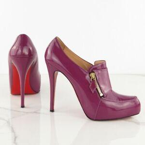 CHRISTIAN LOUBOUTIN size 40.5 Lapono 120 Purple Patent Leather Zip Ankle Boots