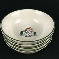 Set of 4 VTG Cereal Bowls by Pfaltzgraff Christmas Village Christmas Holiday