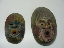 2 - WOOD CARVED PAINTED FACE MASKS WALL HANGERS