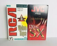 JVC T-120 SX Blank VHS Video Cassette Tape RCA T-120H Lot of 2 Brand New Sealed