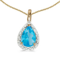 """14k Yellow Gold Pear Blue Topaz Pendant with 18"""" Chain"""