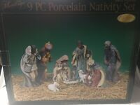 """Heritage Nine Piece Porcelain Nativity Set New Edition Handpainted Collectible9"""""""
