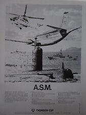 10/1982 PUB THOMSON-CSF LUTTE ASM ASW ATLANTIQUE 2 PUMA SOUS-MARIN FRENCH AD