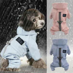 Puppy Dog Raincoats Waterproof with Harness Hole Legs Jumpsuit Pet Rain Jacket