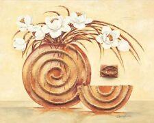 Claudia Ancilotti: LOTUS CUADRO SOBRE LIENZO 24x30 BODEGÓN Moderno Beige Flores