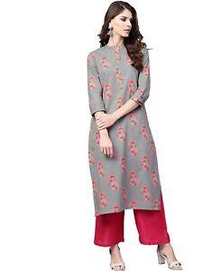 Indian Women Grey & Pink Printed Straight Kurta Kurti Top Tunic Ethinc New Dress