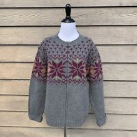Woolrich Women's Nordic Fair Isle 100% Lambs Wool Zip Up Gray Sweater Large