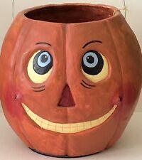 Vintage Poliwoggs Halloween X-LARGE JOL Pumpkin Head Bucket Artist Signed Dated