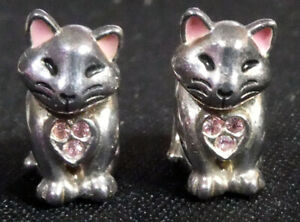 Two Chamilia 925 Sterling Silver & Swarovski Crystal Cat Charm Beads