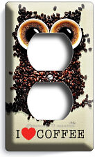 I HEART LOVE COFFEE BEANS OWL DUPLEX OUTLET WALL PLATE COVER KITCHEN HOME DECOR