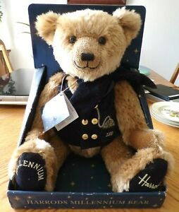 """COLLECTIBLE HARRODS MILLENNIUM 18"""" TEDDY BEAR 2000 Jointed with Tag"""